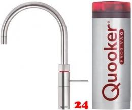 QUOOKER FUSION Round VAQ PRO3 Einhebelmischer Edelstahl & 100°C Armatur Kochendwasserhahn (3FRRVS)