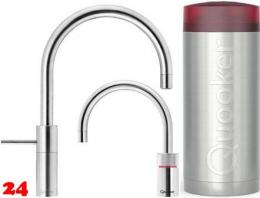 QUOOKER Nordic Round Twintaps Combi(+) Einhebelmischer Edelstahl & 100°C Armatur Set (22+NRRVSTT)