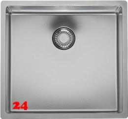 REGINOX New Jersey 40x37-FL Einbauspüle Edelstahl 3 in 1 mit Flachrand Siebkorb als Stopfenventil