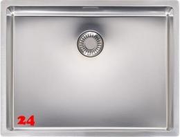 REGINOX New Jersey 50x37-FL Einbauspüle Edelstahl 3 in 1 mit Flachrand Siebkorb als Stopfenventil