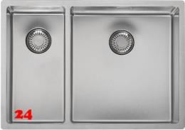 REGINOX Küchenspüle New Jersey 18x37+34x37 (L) Becken rechts Einbauspüle Edelstahl 3 in 1 mit Siebkorb als Stopfenventil