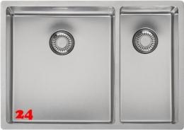 REGINOX Küchenspüle New Jersey 34x37+18x37 (L) Becken links Einbauspüle Edelstahl 3 in 1 mit Siebkorb als Stopfenventil