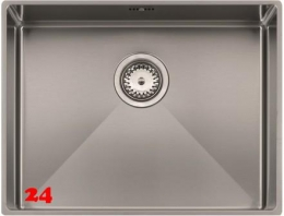 REGINOX Florida 55x40-FL Einbauspüle Edelstahl 3 in 1 mit Flachrand Siebkorb als Stopfenventil