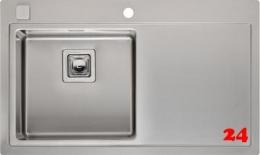 REGINOX Küchenspüle Phoenix 40 (L) Becken links Einbauspüle Edelstahl mit Flachrand Siebkorb als Drehexcenterventil
