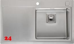 REGINOX Küchenspüle Phoenix 40 (L) Becken rechts Einbauspüle Edelstahl mit Flachrand Siebkorb als Drehexcenterventil