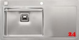 REGINOX Phoenix 50 LINKS Einbauspüle Edelstahl mit Flachrand Siebkorb als Drehexcenterventil