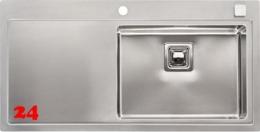 REGINOX Phoenix 50 RECHTS Einbauspüle Edelstahl mit Flachrand Siebkorb als Drehexcenterventil