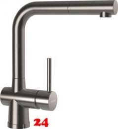 SCHOCK Küchenarmatur Laios-W EDM Einhebelmischer Edelstahl mit Zugauslauf 360° schwenkbarer Auslauf mit Schlauchbrause Vorfenstermontage
