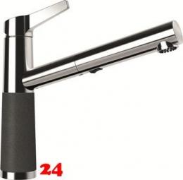 SCHOCK Küchenarmatur SC-510 Cristalite® Golden Line Einhebelmischer Zugauslauf 120° schwenkbarer Auslauf mit Materialhülse und Schlauchbrause in 4 Farben