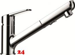SCHOCK Küchenarmatur Daja Chrom Einhebelmischer mit Zugauslauf 120° schwenkbarer Auslauf