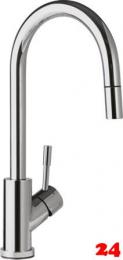 Villeroy & Boch Küchenarmatur Umbrella Flex Einhebelmischer Edelstahl massiv poliert mit Zugauslauf