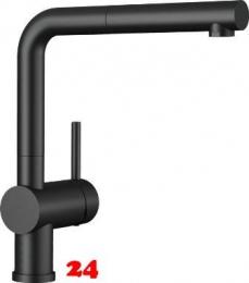 BLANCO Küchenarmatur Linus-S Sonderfarbe Schwarz matt Einhebelmischer mit Zugauslauf als Schlauchbrause