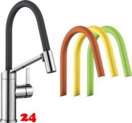 BLANCO Küchenarmatur Viu S Flexo Chrom/Mehrfarbig Einhebelmischer mit flexibler Pendelbrause