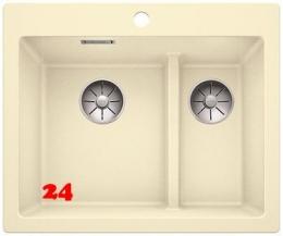 {Lager} BLANCO Küchenspüle Pleon 6 Split Silgranit® PuraDur®II Granitspüle / Einbauspüle Farbe Jasmin