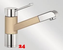{Lager} BLANCO Küchenarmatur Zenos-S Silgranit®-Look Einhebelmischer mit Zugauslauf in der Farbe Champagner