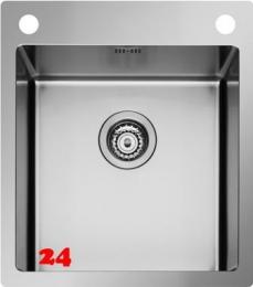PYRAMIS Küchenspüle Istros FB (45x51) 1B HLB Einbauspüle Flachrand / Flächenbündig mit Drehknopfventil
