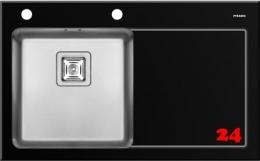Pyramis Küchenspüle Crystalon (86x53) 1B 1D Schwarz LH Kombination aus Sicherheitsglas und Edelstahlbecken