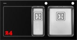 Pyramis Küchenspüle Crystalon (100x52) 1 1/2B 1D Schwarz RH Kombination aus Sicherheitsglas und Edelstahlbecken