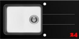 Pyramis Küchenspüle Concerto Plus (100x50) 1B 1D Schwarz Kombination aus Sicherheitsglas und Edelstahlbecken