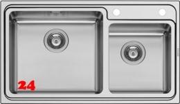 PYRAMIS Küchenspüle Studio (86x50) 2B Einbauspüle / Doppelspüle mit Drehknopfventil