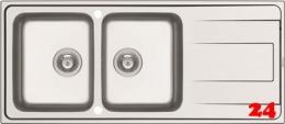 PYRAMIS Küchenspüle Alea (116x50) 2B 1D Einbauspüle / Doppelspüle Siebkorb als Drehknopfventil
