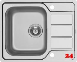 PYRAMIS Küchenspüle Athena (62x50) 1B 1D FB Einbauspüle Flachrand / Flächenbündig Siebkorb als Drehknopfventil