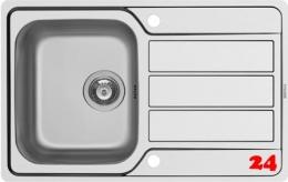 PYRAMIS Küchenspüle Athena (79x50) 1B 1D FB Einbauspüle Flachrand / Flächenbündig Siebkorb als Drehknopfventil
