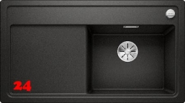 BLANCO Zenar 5 S-F GSB Silgranit® PuraDur®II Granitspüle Flächenbündig Ablaufsystem InFino mit Drehknopfventil