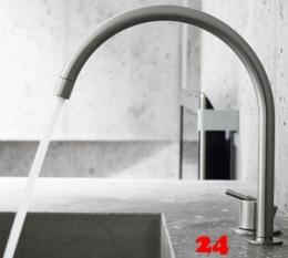VOLA Küchenarmatur 590H-19 Messing poliert Spültischmischer / Zweilocharmatur mit Eingriffmischer und Schwenkauslauf