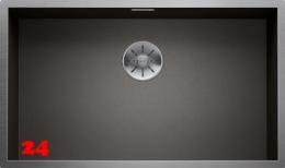 BLANCO Küchenspüle Zerox 700-U Dark Steel Edelstahlspüle / Unterbauspüle mit Ablaufsystem InFino und Handbetätigung