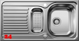 BLANCO Küchenspüle Tipo 6-S BASIC Einbauspüle / Edelstahlspüle Siebkorb als Drehknopfventil