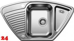 BLANCO Küchenspüle Tipo 9-E Einbauspüle / Eckspüle Siebkorb als Drehknopfventil