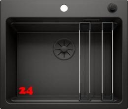 BLANCO Etagon 6 Black Edition Silgranit® PuraDur®II Granitspüle / Einbauspüle Ablaufsystem InFino mit Zugknopfventil