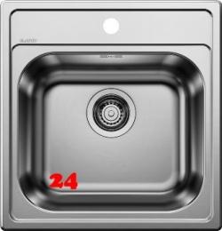 BLANCO Küchenspüle Dana 45 Einbauspüle / Edelstahlspüle mit Hahnlochbank Siebkorb als Stopfenventil