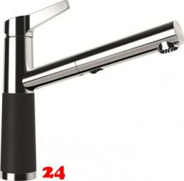 SCHOCK Küchenarmatur SC-510 Cristalite® Basic Line Einhebelmischer Zugauslauf 120° schwenkbarer Auslauf mit Materialhülse und Schlauchbrause in 4 Farben Niederdruck