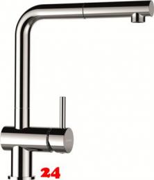 SCHOCK Küchenarmatur Epos Chrom Einhebelmischer mit Zugauslauf 180° schwenkbarer Auslauf mit Schlauchbrause