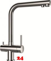 SCHOCK Küchenarmatur Vitus EDM mit Festauslauf 3-Wege Trinkwasserfilter Armatur Edelstahl 360° schwenkbarer Auslauf