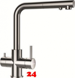 SCHOCK Küchenarmatur Vitus EDM mit Zugauslauf 3-Wege Trinkwasserfilter Armatur Edelstahl 180° schwenkbarer Auslauf mit Schlauchbrause