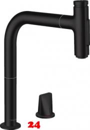 HANSGROHE Küchenarmatur Metris Select M71 Mattschwarz 2-Loch Einhebelmischer 200 mit Ausziehbrause, 2jet, sBox (73818670)