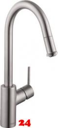 HANSGROHE Küchenarmatur Talis M52 Edelstahl Finish Einhebelmischer 260 mit Zugauslauf als Ausziehauslauf Vorfenstermontage, 1jet, sBox (73864800)