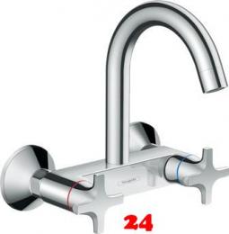HANSGROHE Küchenarmatur Logis M32 Chrom 2-Griffmischer für Wandmontage Highspout, 1jet 360° schwenkbarer Auslauf (71286000)