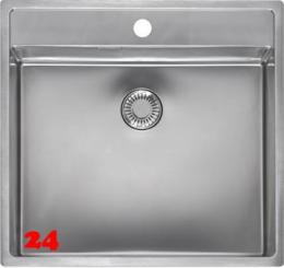 REGINOX Küchenspüle New York 50x40 (L) Comfort Hahnlochbank Einbauspüle Edelstahl Flachrand flächenbündig Siebkorb als Stopfenventil