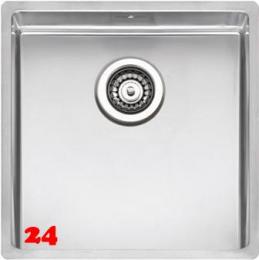 REGINOX Küchenspüle New York 40x40 (L) OKG Einbauspüle Edelstahl 3 in 1 mit Flachrand Siebkorb als Stopfenventil