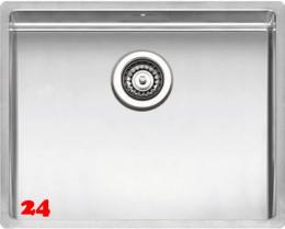 REGINOX Küchenspüle New York 50x40 (L) OKG Einbauspüle Edelstahl 3 in 1 mit Flachrand Siebkorb als Stopfenventil