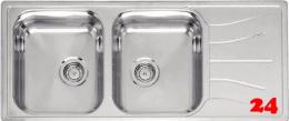 REGINOX Küchenspüle Diplomat 30 ECO KGOKG Einbauspüle Edelstahl Doppelspüle mit Einbaurand Siebkorb als Stopfenventil