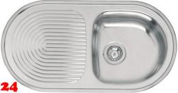 REGINOX Küchenspüle Reginorm 10 (L) OKG Einbauspüle Edelstahl mit Flachrand Siebkorb als Stopfenventil