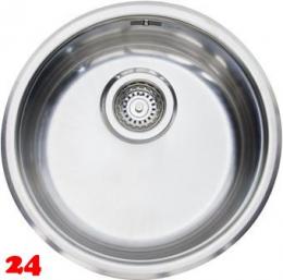 REGINOX Küchenspüle R18 370 (R) OKG Einbauspüle Edelstahl mit Einbaurand Rundbecken mit Siebkorb als Stopfenventil