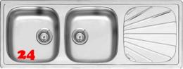 REGINOX Clean & Care Beta 30 (R) KG-CC Einbauspüle Edelstahl mit Einbaurand Doppelspüle ohne Überlauf medizinischer Bereich