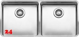REGINOX Küchenspüle Ohio 40x40+40x40 (L) OKG Einbauspüle Edelstahl 3 in 1 mit Flachrand Doppelbecken mit Siebkorb als Stopfenventil